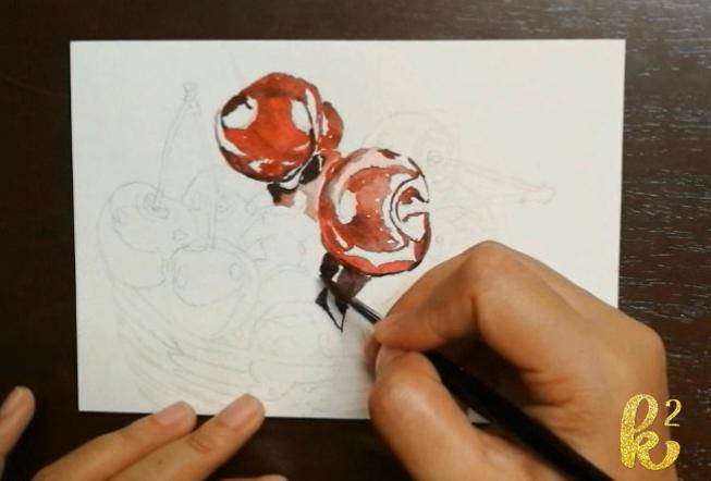 How to Paint Cherries in Watercolor (2)