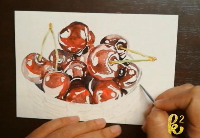 How to Paint Cherries in Watercolor (4)