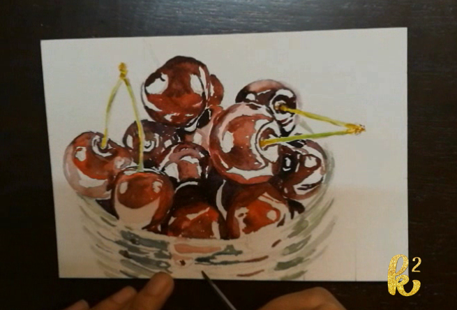 How to Paint Cherries in Watercolor (5)
