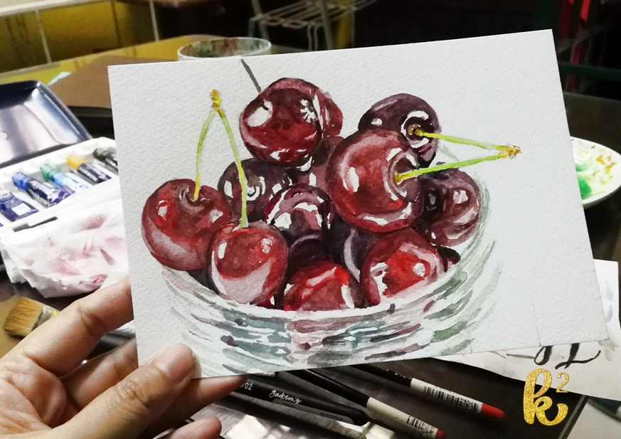 How to Paint Cherries in Watercolor (7)