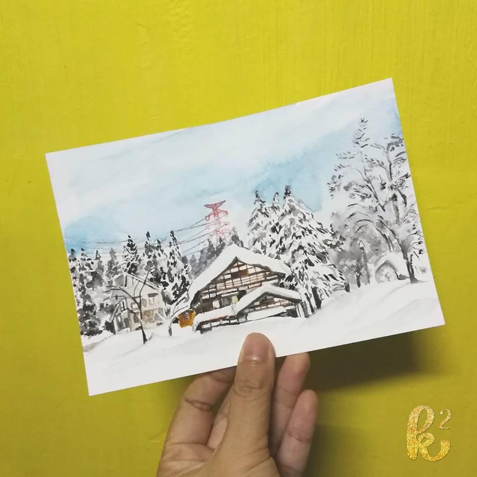 25 watercolor postcards