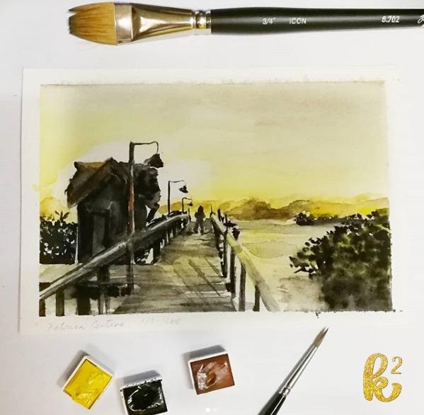 25 watercolor postcards sunset scene