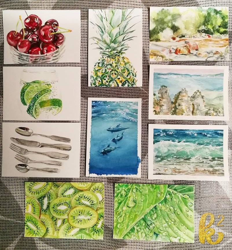 25 watercolor postcards 4