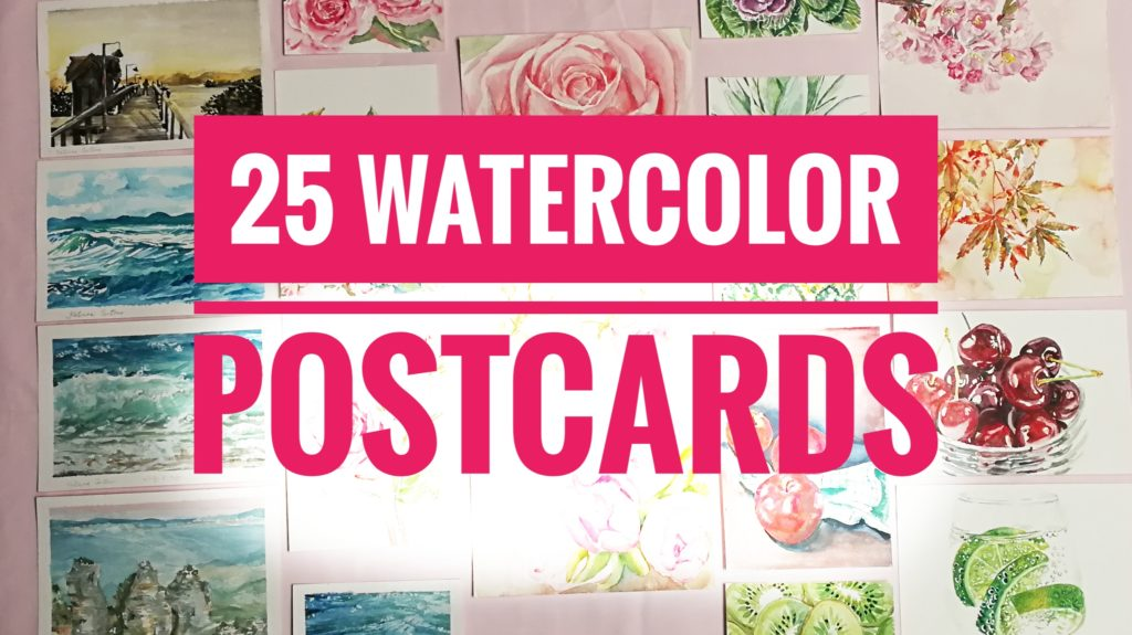 25 watercolor postcards